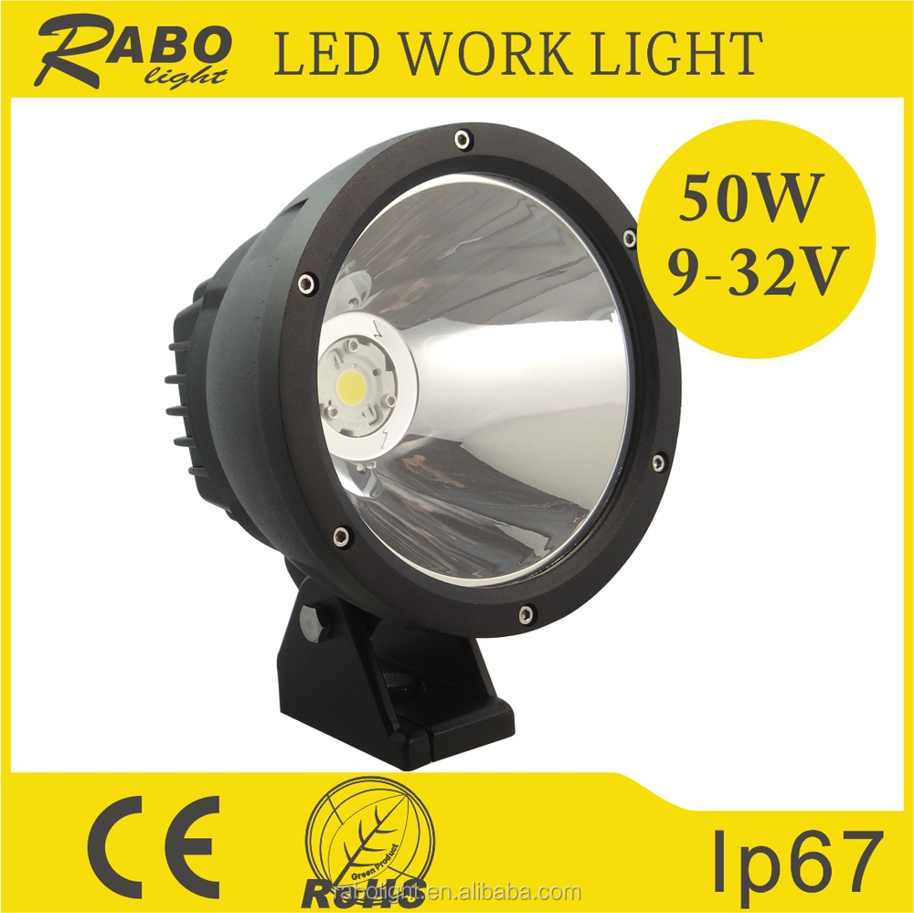 7 inch 10 degree 5000lm round 50w led work light elantra head lamp