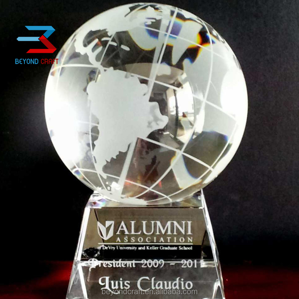 Engraving Crystal Glass Globe Awards For Academy Student