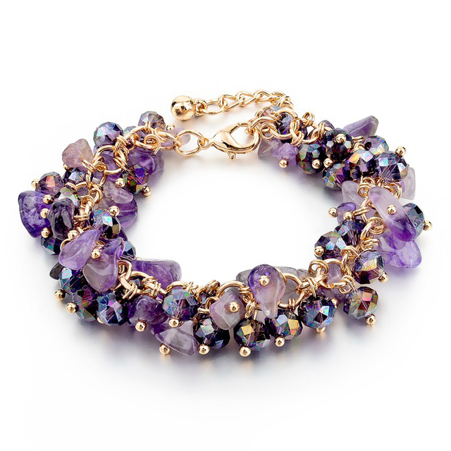 Amethyst Charm Bracelets & Bangles With Crystal Stones Friendship Bracelets For Women Gold Bracelet Femme Turkish Jewelry Mujer