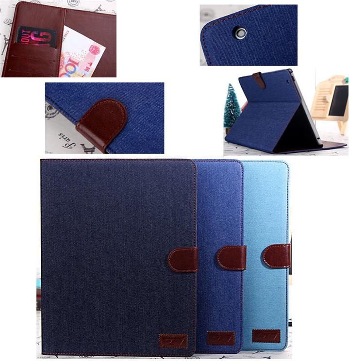 For iPad 2/3/4 Jeans leather case, tablet leather cover for ipad