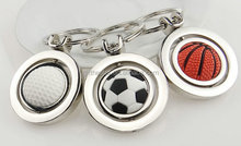football and basketball and tennis keychain can spinning