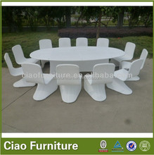 Family dining room furniture white rattan high end dining table chair set