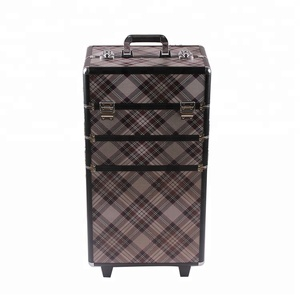 New product plaid printing professional makeup trolley case with wheels
