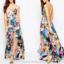 New arrival latest design women floral print long maxi dress with lace up backless fashion express dresses