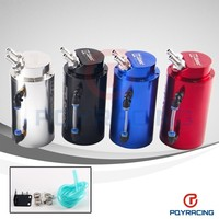 PQY STORE-Universal 10mm D1 Engine Round Oil Catch Tank Can JDM BLACK,SILVER,RED,BLUE PQY-TK82