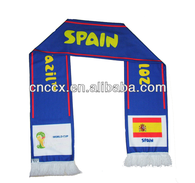 2014 World Cup polyester priting woven football fan scarf