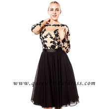 Handsome long sleeves nude top of bodies applique lace knee length evening dresses