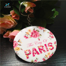 wholesale Pocket Tin Cosmetic Mirror For Make Up cheap Paris gift compact metal mirror with chain