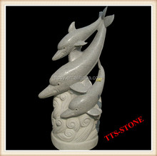 Granite Carved Dolphin Statue