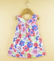 2014 baby girl blue pink green flower dress 30pcs/lot 2- 8 years spain brand free shipping by ems