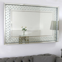 Wall mounted recetangle floating crystal dressing mirror