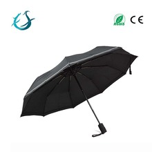 Chinese imports wholesale auto 9 Ribs 3 fold umbrella with reflective edge