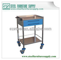hospital emergency trolley/ steel emergency cart/ hospital furniture