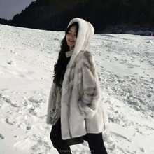 Korean style natural cross mink fur coat for ladies with hood