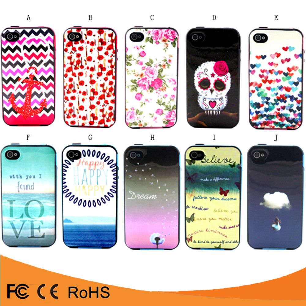 Shockproof TPU PC Combo Case For Custom Printed For iphone Case For Iphone 4 Case