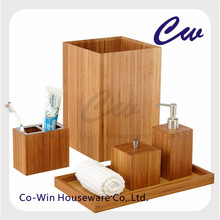 Wooden Bamboo Bathroom Set Bathroom Accessory Sets 6 Pcs Wood Bathroom Tumbler, Soap Dispenser,Toilet brush Holder