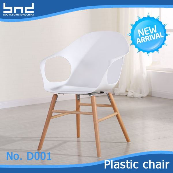 Fashion wood dowel leg white acrylic dinning chair D001