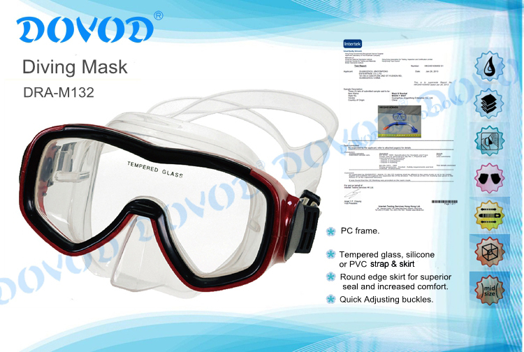2015 Chinese Manufactere professional tempered glass scuba mask