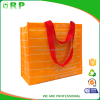 ISO/BSCI Promotional foldable good quality OEM orange foldable rpet bag