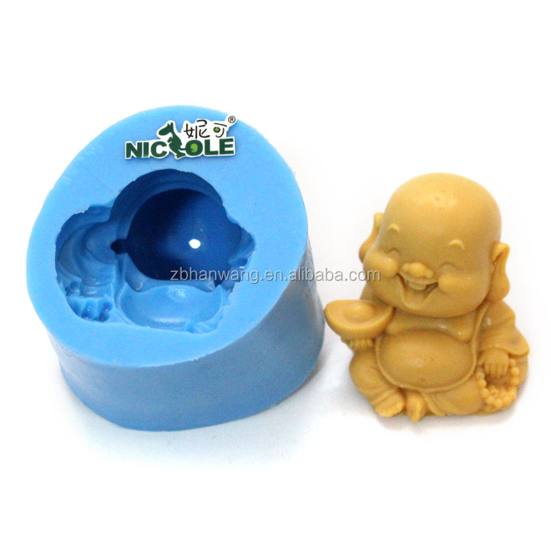 R1097 FDA customized 3D Happy Buddha shape silicone craft/candle/soap mold