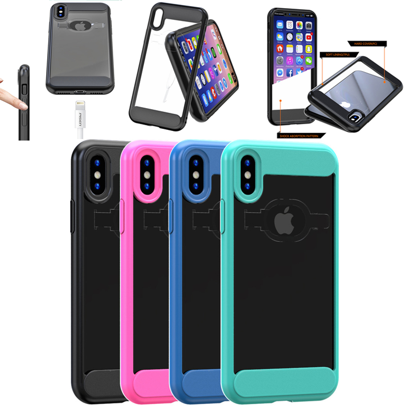 4 Colors Available for iPhone X Clear Back TPU+PC Cover, Fancy Case for iPhone X