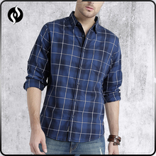 High quality autumn casual men clothes cotton blue checked shirt custom