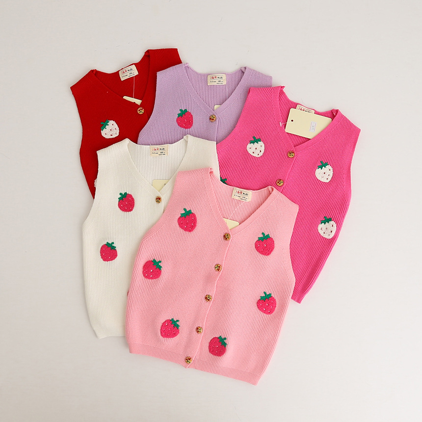 2017 New Arrivals Kid's Sleeveless Strawberry Designs Hand Knitting Winter Sweater