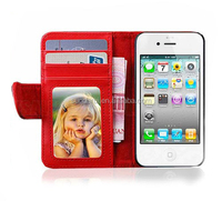Mix colors ID cards Wallet Leather Flip cases for iphone 4 cover