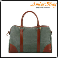 High Quality Men washed canvas messenger bag,laptop bag with genuine leather AB1605