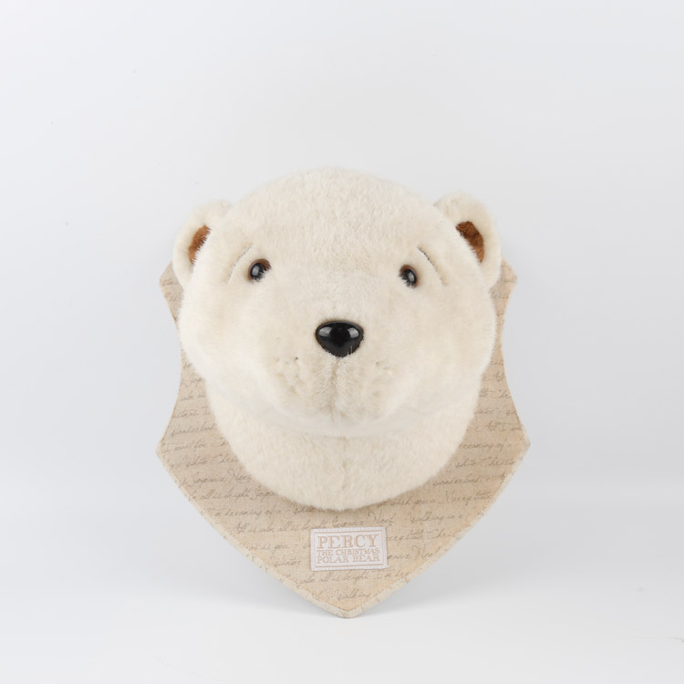Christmas 2018 plush soft toy polar bear head wall decoration