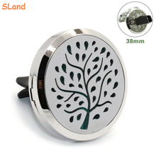 38mm diameter Fallen leaves Tree design 316l Stainless Car Air Vent Freshener Essential Oil Diffuser with Felt pads wholesale