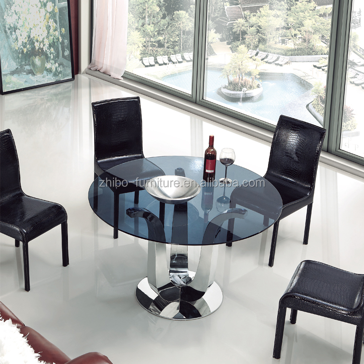 Dining Room Furniture Cheap Stainless Steel Base Round Glass Top Modern Glass