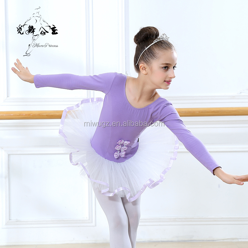 Purple Long Sleeve Ballet Dancing Dress Tutu Skirt for Sale