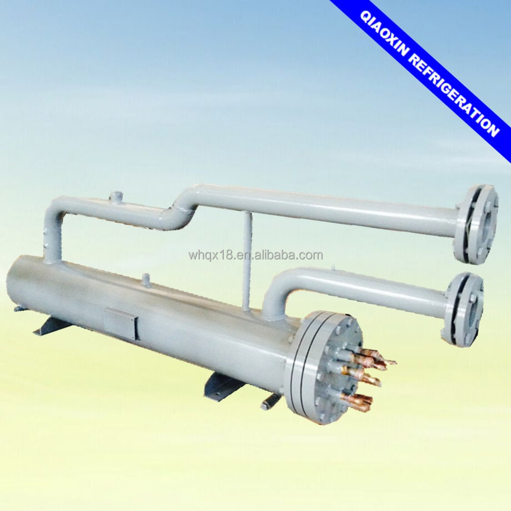 U shaped shell and tube heat exchanger water cooled marine evaporator for chiller unit