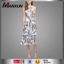Dongguan Female Floral Printed Dress Spaghetti Straps Beautiful Ladies Simple Fashion Dresses Ladies Offices Dresses