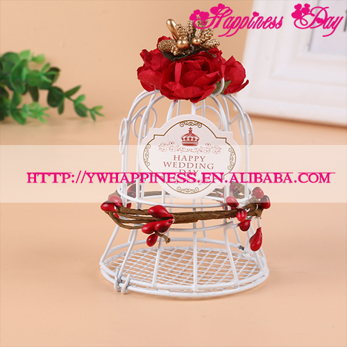 White Bird Cage Wedding Gift Box Favors Metal Birdcage Flower Top Home Decoration