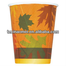 Thanksgiving Fall Autumn Party TURNING LEAVES LEAF HOT / COLD PAPER CUPS(MSD-086)
