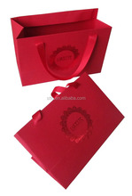 Directly Factory Machine Made Custom Luxury Paper Shopping Bag with ribbon handles & gold hot stamping logo