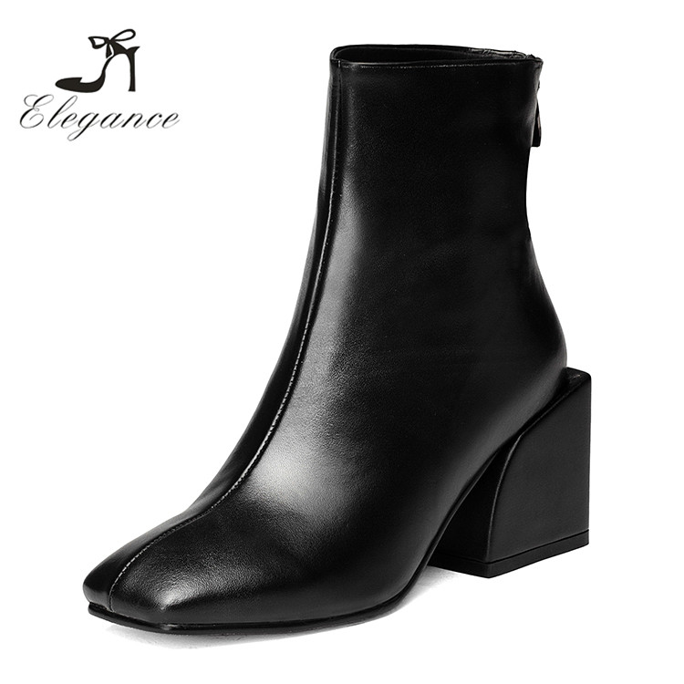 2017 European Women Metallic Black Grey Leather Square Toe Chunky Heel Ankle Boots