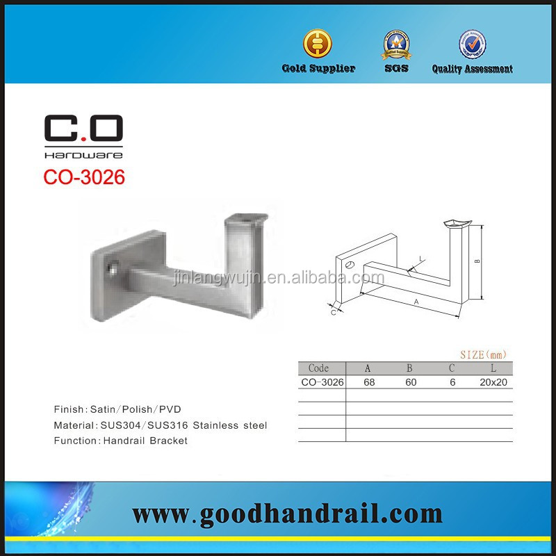 Stainless Steel top mounted handrail bracket for square pipe CO-3026