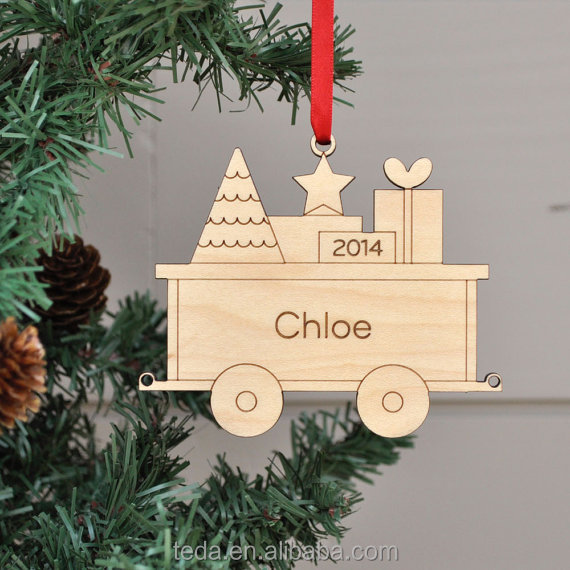 Baby's First Christmas wooden Train Car Ornament