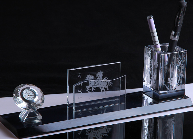 wholesale crystal glass office stationery desk set in China