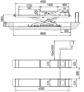 carlift/hydraulic scissor car lift stage(SS-6400)