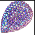 Tear Drop Resin Ab Coated Pale Lavender Purple Druzy Cabochons, Faux Glitter Druzy