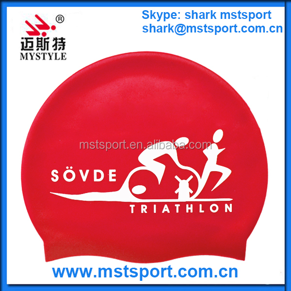High quality silicone material ironman triathlon swim cap