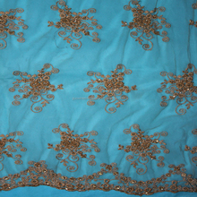 2015 latest beaded lace fabric/polyester textile for bed cover