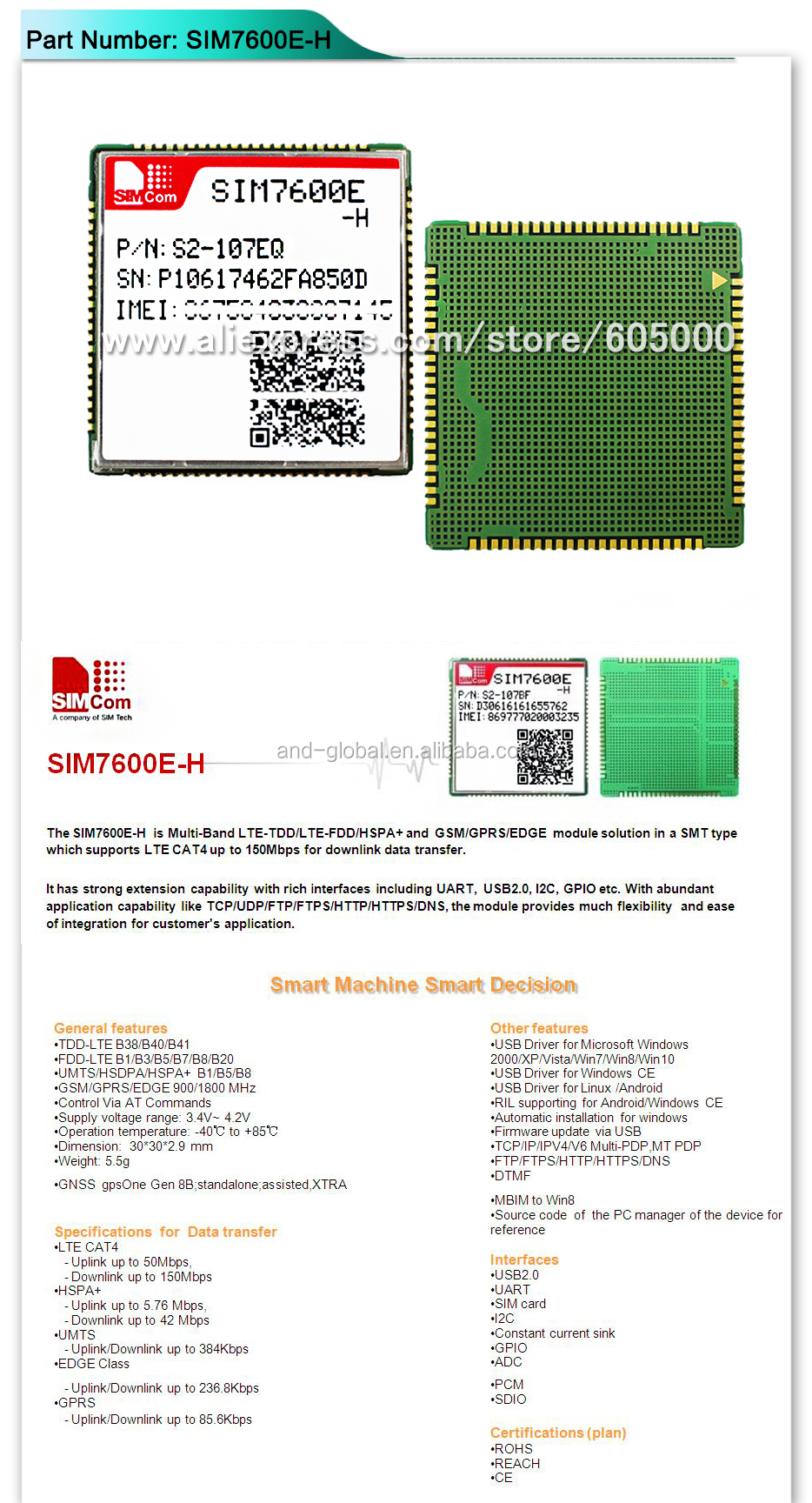 Multi Band LTE Module CAT4 module,SIM7600E-H