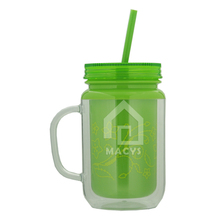 16 oz double wall insulated plastic mason jar tumbler cups with handle and straw