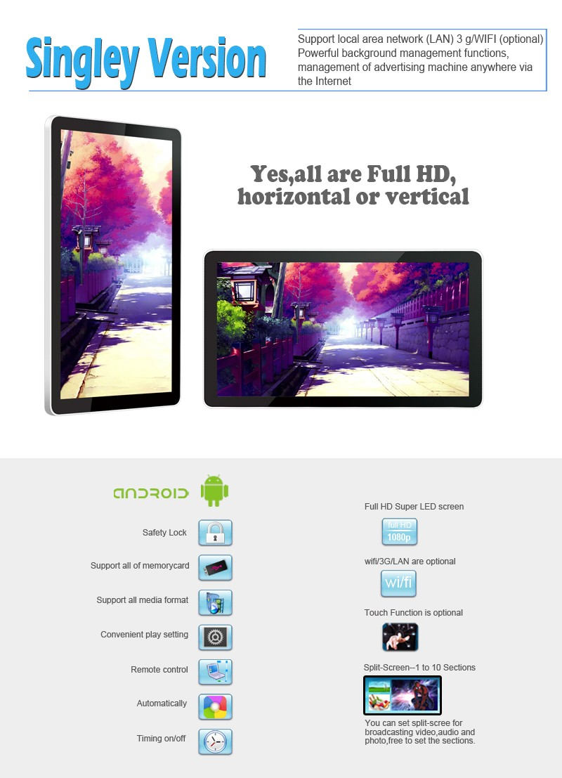 18.5inch tablet android smart showbox advertising media player