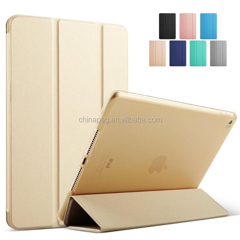 High quality ultrathin three fold pu leather case for ipad air cover for ipad 5 case with softedge